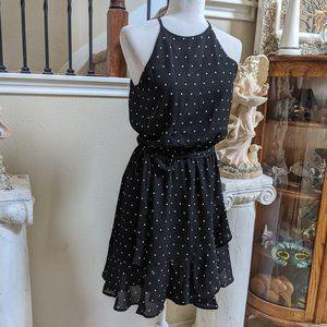 Karen Kane Ruffled Faux Wrap Dress Black sz M